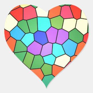 Arco iris 2183 del vitral pegatina en forma de corazón