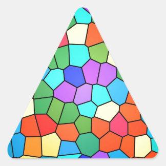 Arco iris 2183 del vitral pegatina triangular