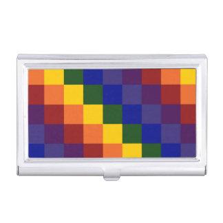 Arco iris a cuadros caja de tarjetas de negocios