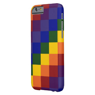 Arco iris a cuadros funda para iPhone 6 barely there