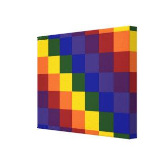 Arco iris a cuadros impresión en lienzo