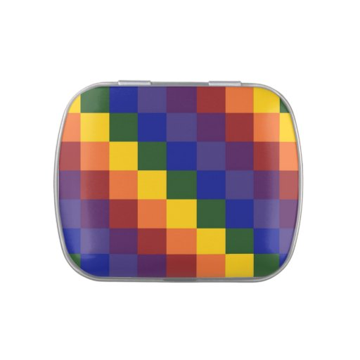Arco iris a cuadros jarrones de caramelos