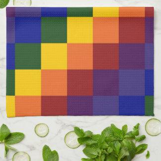 Arco iris a cuadros toalla de mano