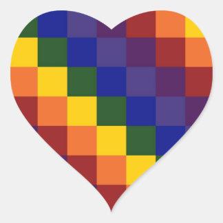 Arco iris a cuadros pegatina en forma de corazón