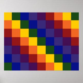 Arco iris a cuadros poster