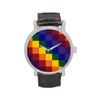 Arco iris a cuadros reloj de mano