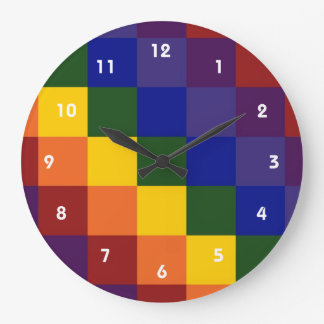 Arco iris a cuadros reloj redondo grande