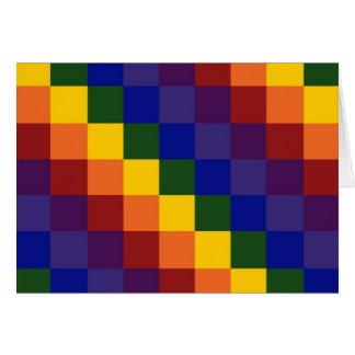 Arco iris a cuadros tarjeta de felicitación