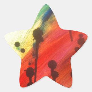 arco iris abstracto con los goteos negros pegatina en forma de estrella
