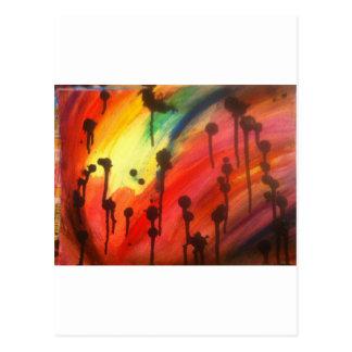 arco iris abstracto con los goteos negros postales