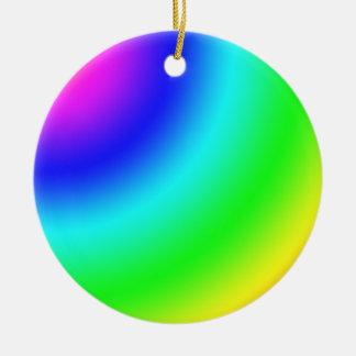 Arco iris adorno navideño redondo de cerámica