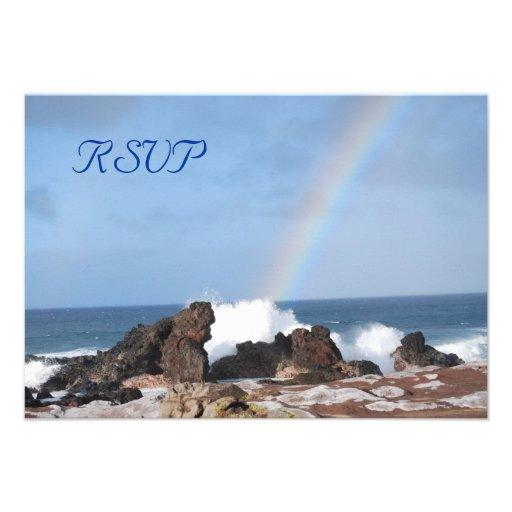 Arco iris afortunado que casa las tarjetas de RSVP Anuncios