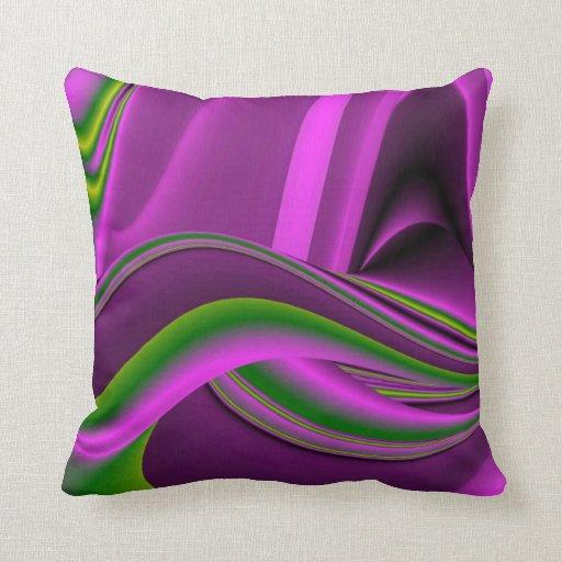 Arco iris-Arte abstracto verde púrpura Cojines