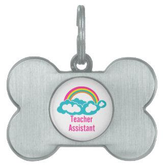 Arco iris auxiliar de la nube del profesor placa de mascota