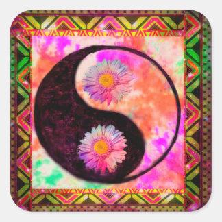 Arco iris azteca del teñido anudado del amor de la pegatina cuadrada