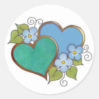 Arco iris azules y verdes etiqueta redonda