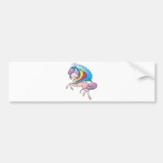 arco iris bonito Pegaso Etiqueta De Parachoque
