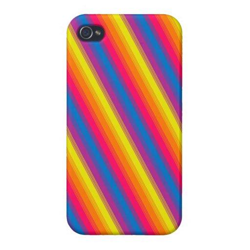 Arco iris brillante de la raya del caramelo iPhone 4/4S carcasas
