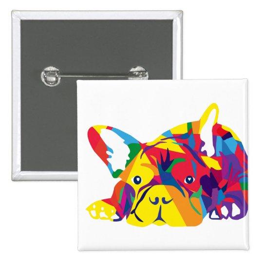 Arco iris bulldog Francés Pin Cuadrado