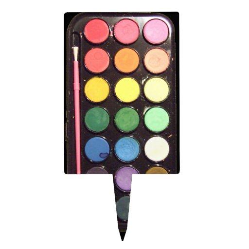 Arco iris colorido de la caja de la pintura decoraciones de tartas