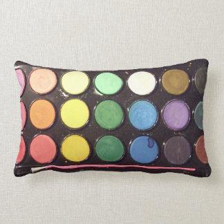 Arco iris colorido de la caja de la pintura almohadas