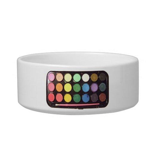 Arco iris colorido de la caja de la pintura tazones para agua para gatos