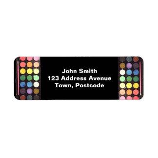 Arco iris colorido de la caja de la pintura etiqueta de remite