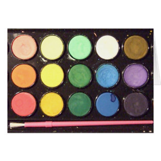 Arco iris colorido de la caja de la pintura felicitaciones