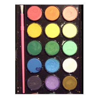 Arco iris colorido de la caja de la pintura tarjetas postales