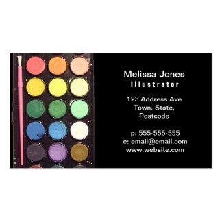 Arco iris colorido de la caja de la pintura tarjetas de visita