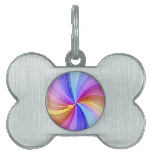 Arco iris colorido placas de nombre de mascota