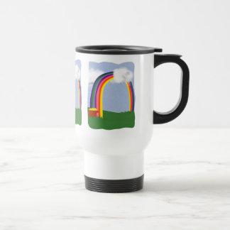 Arco iris con un arte del dibujo animado de la min taza de café