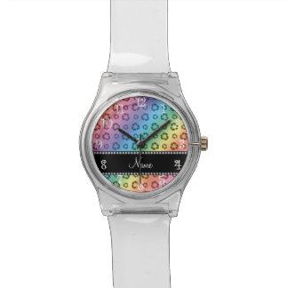 Arco iris conocido personalizado que recicla el relojes