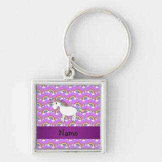 Arco iris conocidos personalizados de la púrpura d llavero cuadrado plateado