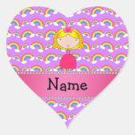 Arco iris conocidos personalizados de la púrpura d calcomanía corazón