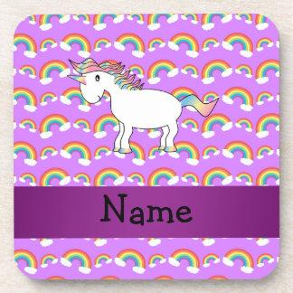 Arco iris conocidos personalizados de la púrpura d posavasos
