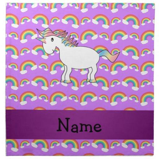 Arco iris conocidos personalizados de la púrpura d servilletas