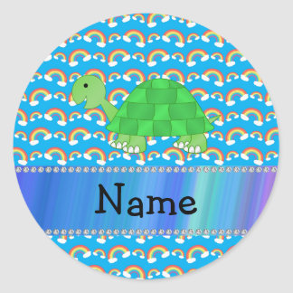 Arco iris conocidos personalizados de la tortuga pegatina redonda