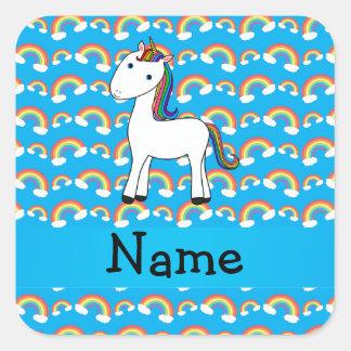 Arco iris conocidos personalizados del azul del un etiquetas