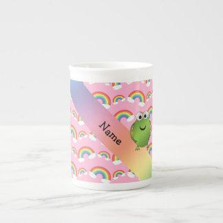 Arco iris conocidos personalizados del rosa de la taza de porcelana