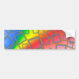 Arco iris cuadrados etiqueta de parachoque
