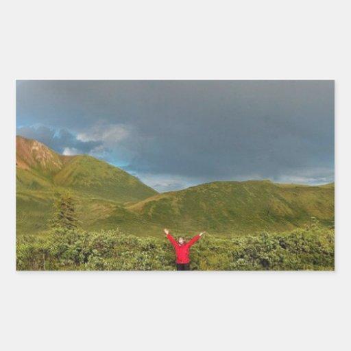 ¡Arco iris de Alaska doble, foto real! Rectangular Pegatinas