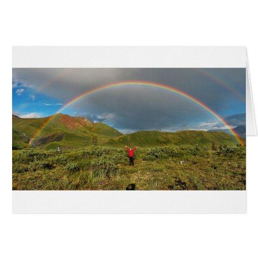 ¡Arco iris de Alaska doble, foto real! Tarjetón