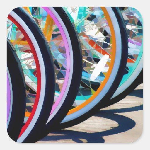 Arco iris de bicicletas calcomanías cuadradases