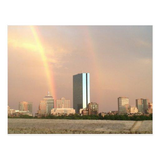 Arco iris de Boston - horizonte del verano Tarjetas Postales