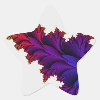 Arco iris de colores en esta flor del fractal pegatina en forma de estrella
