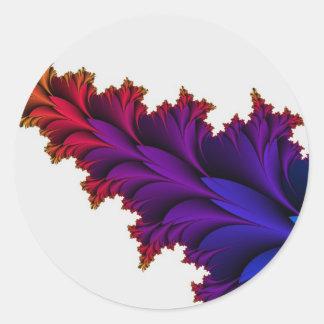 Arco iris de colores en esta flor del fractal pegatina redonda
