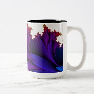 Arco iris de colores en esta flor del fractal taza de café de dos colores
