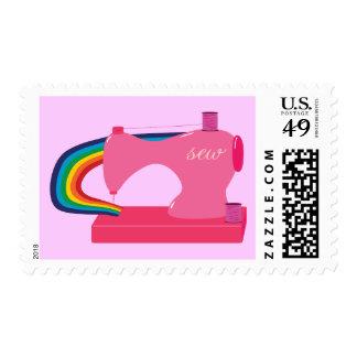 Arco iris de costura timbre postal