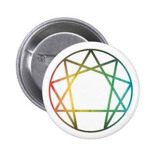 Arco iris de Enneagram Pin Redondo De 2 Pulgadas